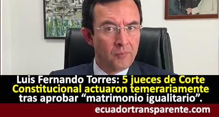 Luis Fernando Torres señala que hubo fraude constitucional con la aprobación del matrimonio igualitario