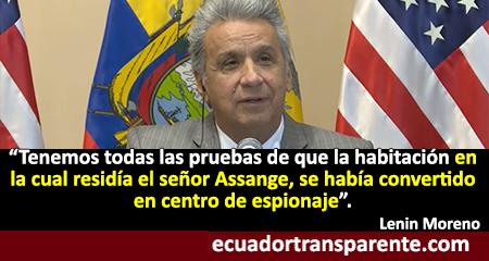 Lenín Moreno asegura que Julián Assange dirigía un centro de espionaje en la embajada de Ecuador en Londres
