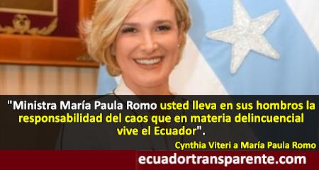 Cynthia Viteri responsabiliza del caos en la seguridad del Ecuador a María Paula Romo