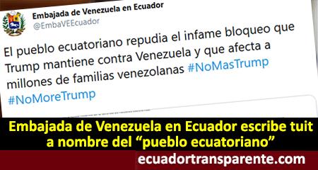 Embajada de Venezuela en Ecuador se toma el nombre del pueblo ecuatoriano en un comunicado