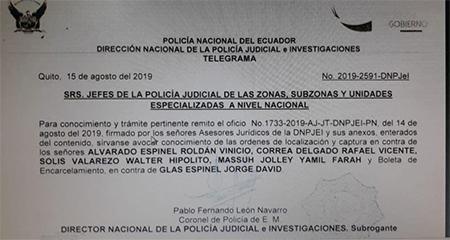 Nueva orden de captura contra Rafael Correa, Vinicio Alvarado y otros ex funcionarios