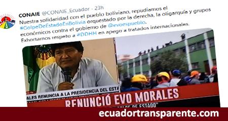 La CONAIE manifiesta su apoyo a Evo Morales