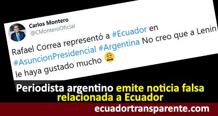 Experiodista de CNN emite noticia falsa, al informar que Correa representó al Ecuador en Argentina