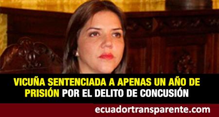 María Alejandra Vicuña sentenciada a un año de prisión por el delito de concusión