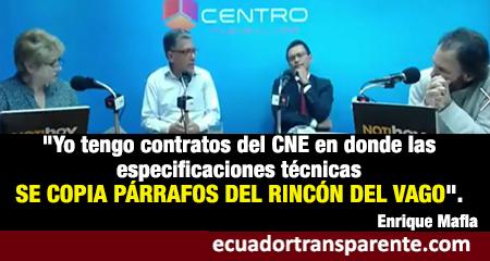 Enrique Mafla asevera que en el CNE hay contratos con párrafos copiados del Rincón del Vago