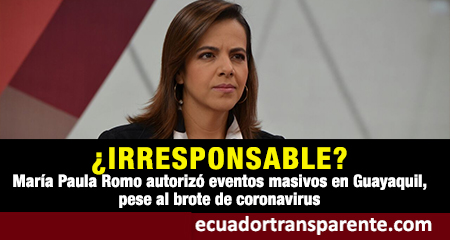 María Paula Romo autorizó la celebración de eventos masivos en Guayaquil, pese al brote de coronavirus