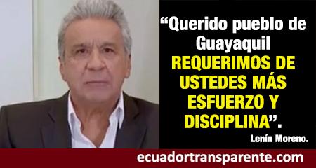 Lenín Moreno, en cadena nacional,  «hala las orejas» a guayaquileños que no se quedan en casa para evitar contagios por coronavirus