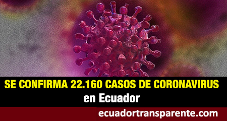 La cifra de contagiados por coronavirus en Ecuador asciende a 22.160