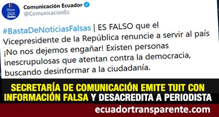 Secretaría de Comunicación emitió un tuit con información falsa (fake news)