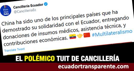 Cancillería del Ecuador agradece «solidaridad de China»